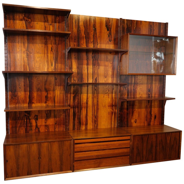 1960s Adjustable Brazilian Jacaranda Wood Shelving Unit For Sale