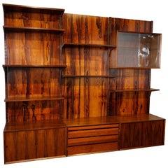 1960s Adjustable Brazilian Jacaranda Wood Shelving Unit