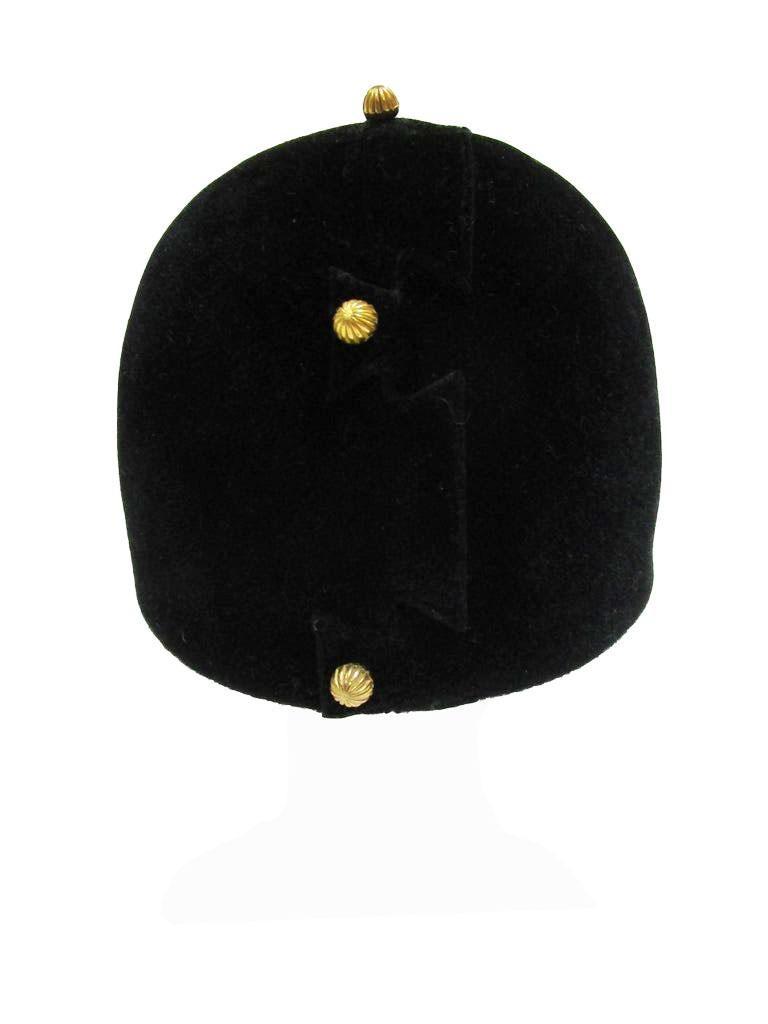 Women's  1960s Adolfo Black Velvet Equestrian Hat With Gold Embellishments For Sale