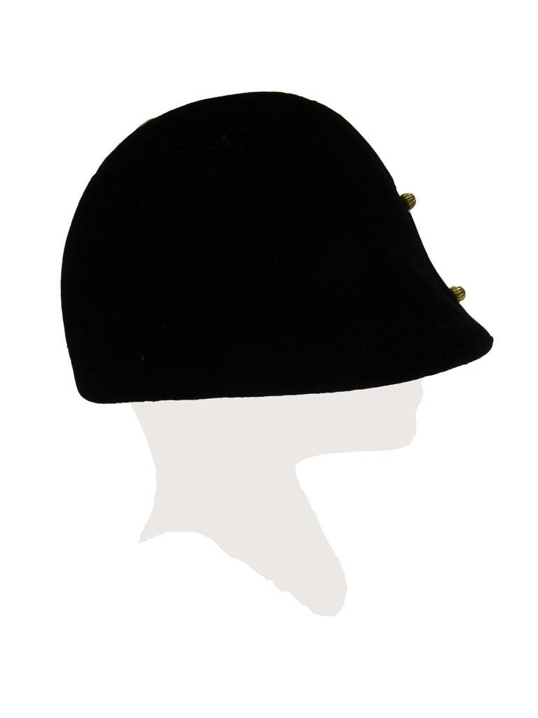 1960s Adolfo Black Velvet Equestrian Hat With Gold Embellishments For Sale 1