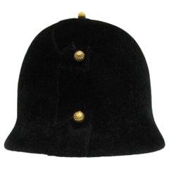 1960s Adolfo Black Velvet Equestrian Hat With Gold Embellishments