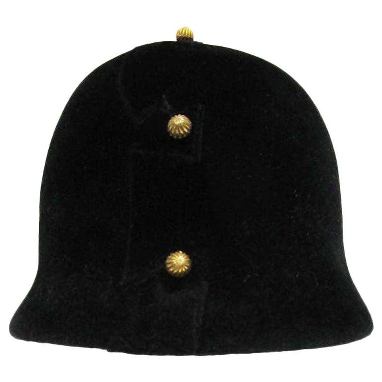1960s Adolfo Black Velvet Equestrian Hat With Gold Embellishments For Sale