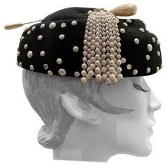 1960s Adolfo II Black Felt Hat Studded W/ Pearls Rhinestones & Tasseled Hatpin