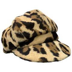 1960s Adolfo Mod Leopard Faux Fur Newsboy-Style Hat w/ Brim