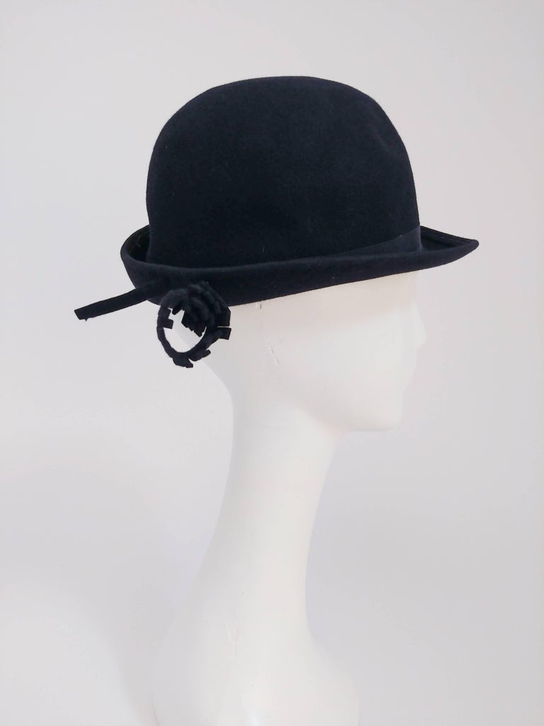 Gray 1960s Adolfo Navy Cashmere Felt Hat with Flower Accent For Sale