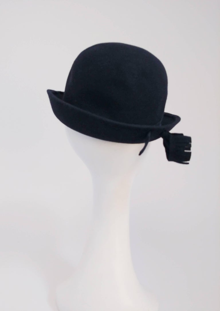 1960s Adolfo Navy Cashmere Felt Hat with Flower Accent In Good Condition For Sale In San Francisco, CA