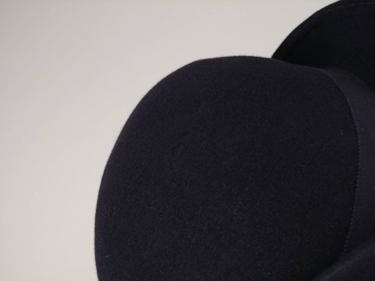 1960s Adolfo Navy Cashmere Felt Hat with Flower Accent For Sale 2