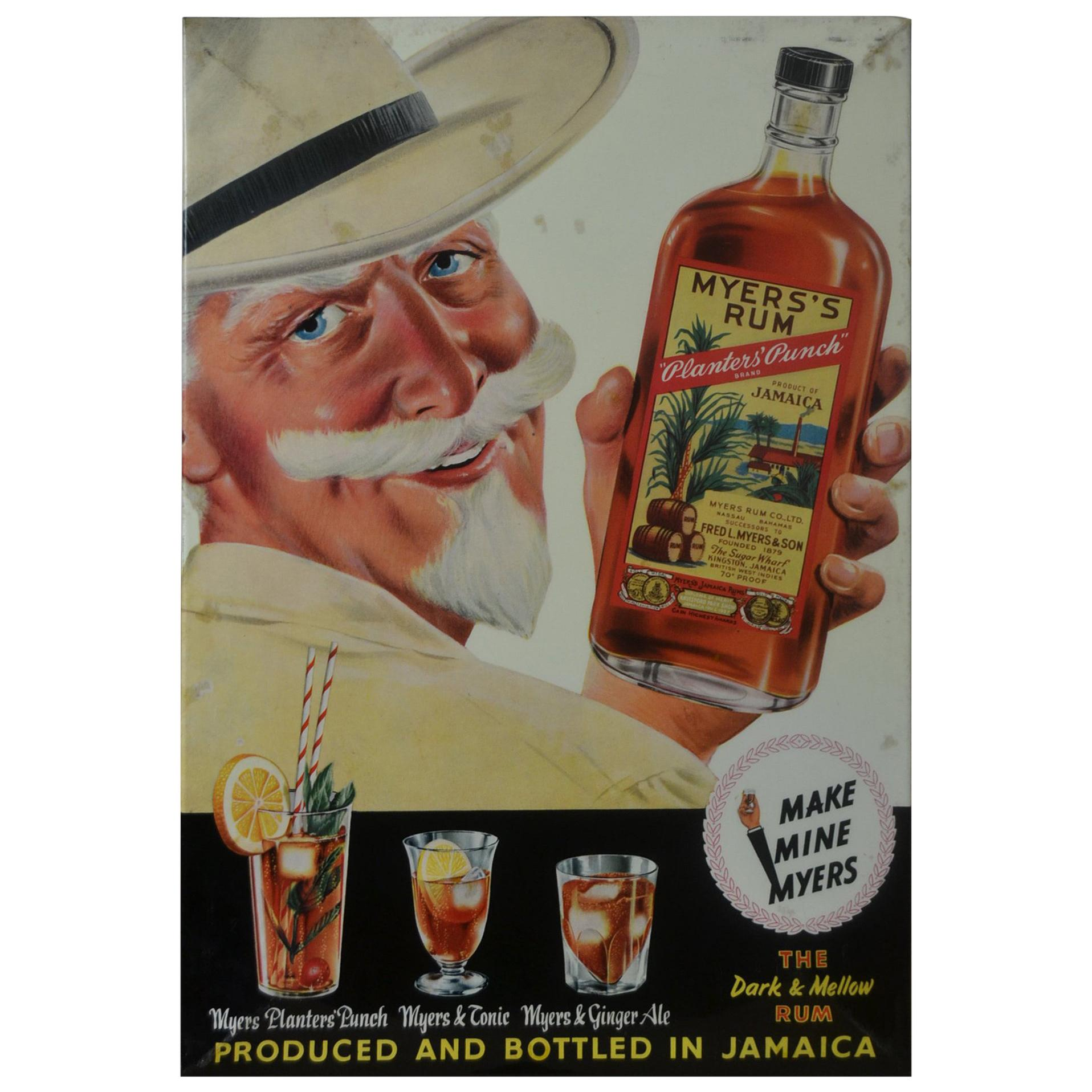 1960s Advertising Sign for Myers's Rum, Glacoide on Cardboard
