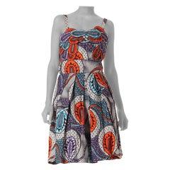 1960S African Batik Printed Cotton Dress With Appliqué Bodice