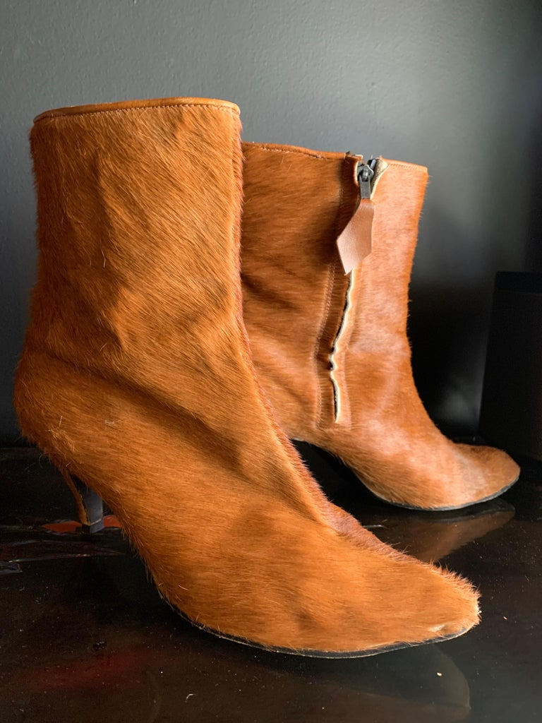 Orange 1960s Albertina Fawn Color Pony Mod Go-Go Booties From Italy For Sale
