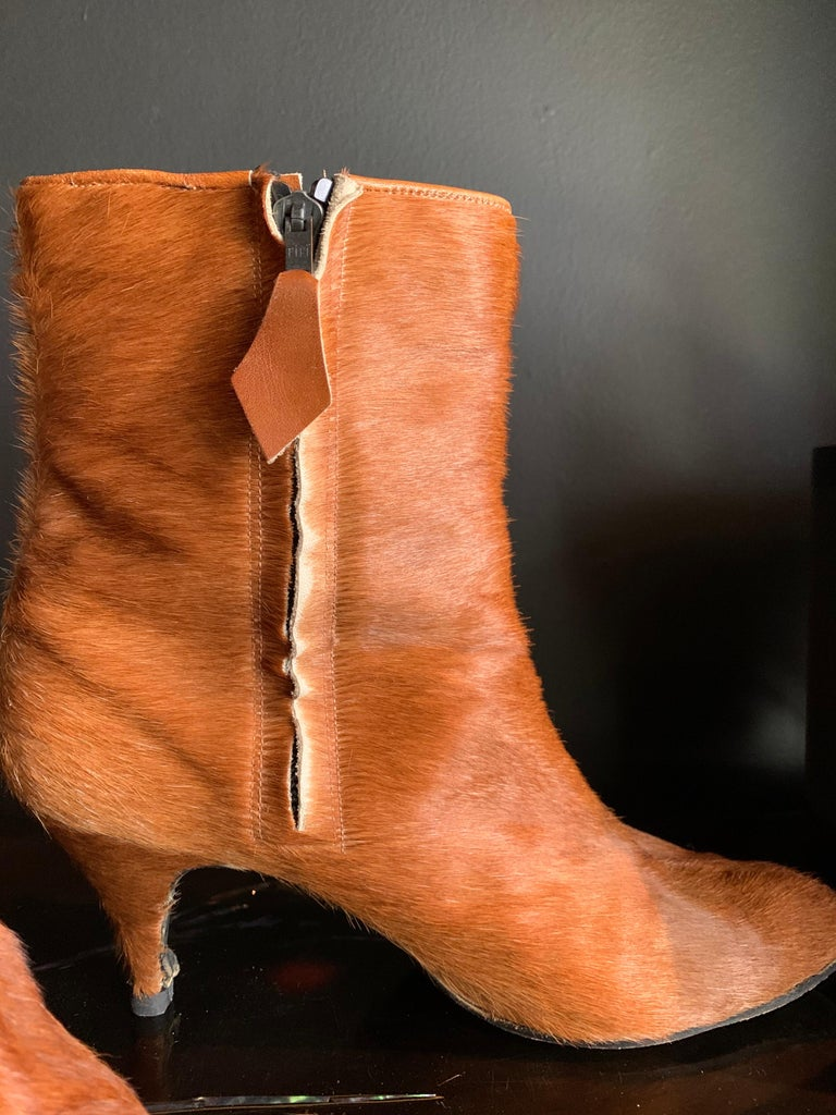1960s Albertina Fawn Color Pony Mod Go-Go Booties From Italy For Sale 1