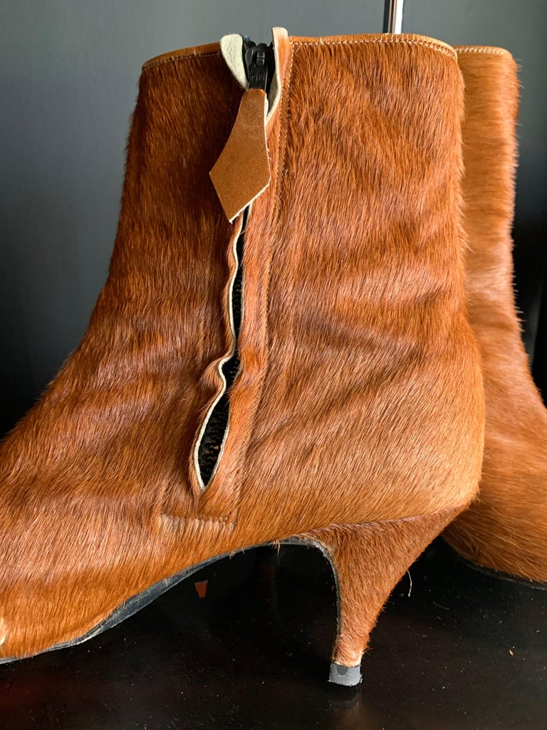1960s Albertina Fawn Color Pony Mod Go-Go Booties From Italy For Sale 4