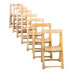 1960s Aldo Jacober Folding Chairs for Alberto Bazzani Set of 7