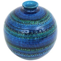 1960s Aldo Londi for Bitossi Rimini Blue Glazed Ceramic Large Round Vase