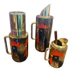 1960s Aldo Tura Mid-Century Modern Goatskin and Brass Cocktail Set