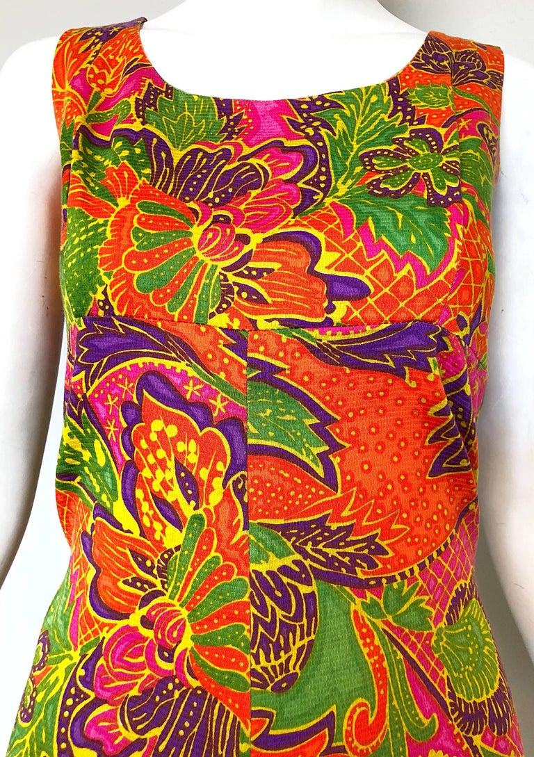 Brown 1960s Alfred Shaheen Brightly Colored Tropical Hawaiian One Piece 60s Romper  For Sale
