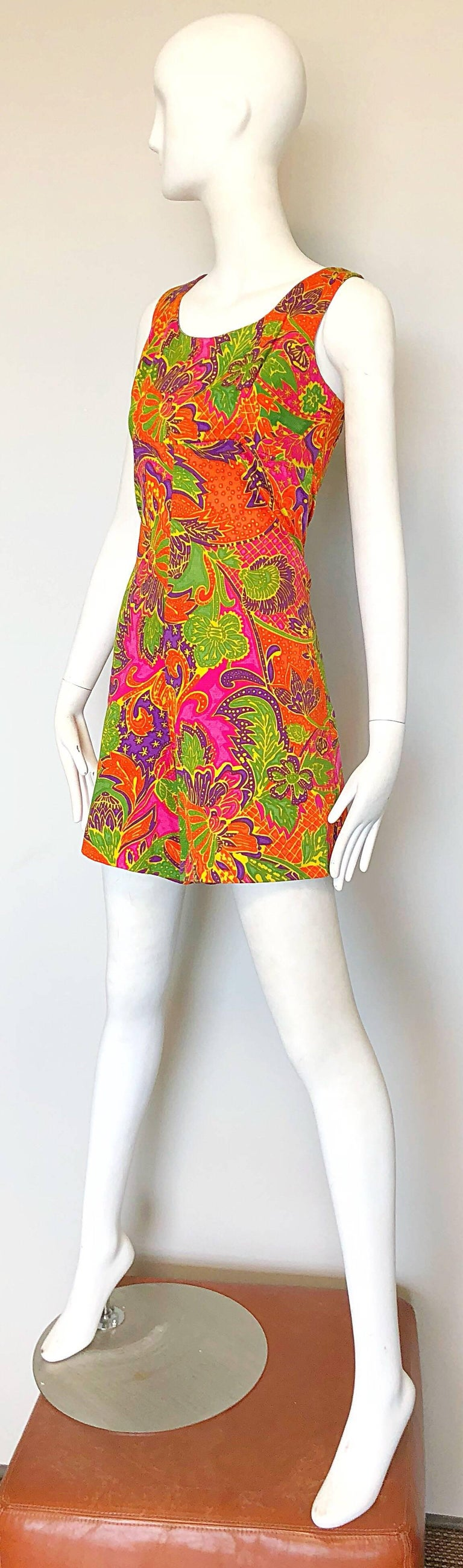 1960s Alfred Shaheen Brightly Colored Tropical Hawaiian One Piece 60s Romper  For Sale 1