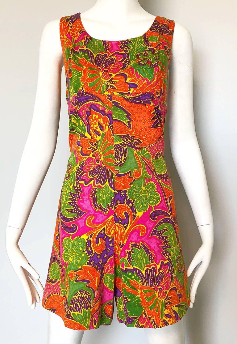 1960s Alfred Shaheen Brightly Colored Tropical Hawaiian One Piece 60s Romper  For Sale 2