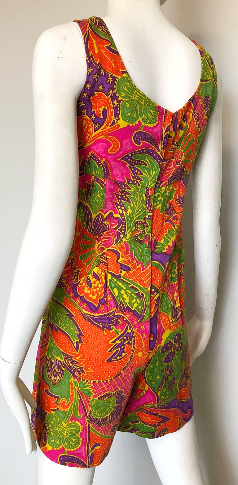 1960s Alfred Shaheen Brightly Colored Tropical Hawaiian One Piece 60s Romper  For Sale 3