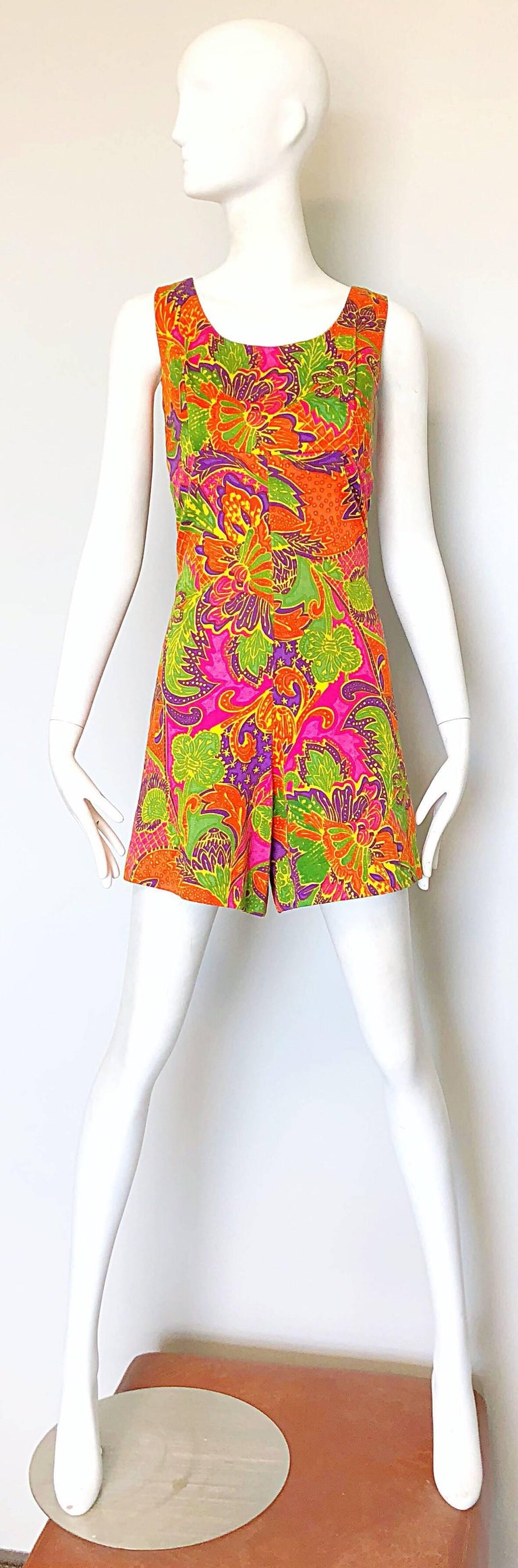 1960s Alfred Shaheen Brightly Colored Tropical Hawaiian One Piece 60s Romper  For Sale 4
