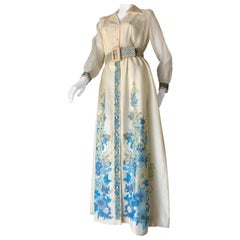 1960s Alfred Shaheen Ivory Hostess Maxi Dress W/ Turquoise Polynesian Print NOS