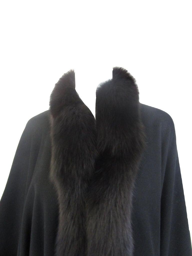 1960s Alixandre Black Fox Fur Cape  In Excellent Condition For Sale In Houston, TX