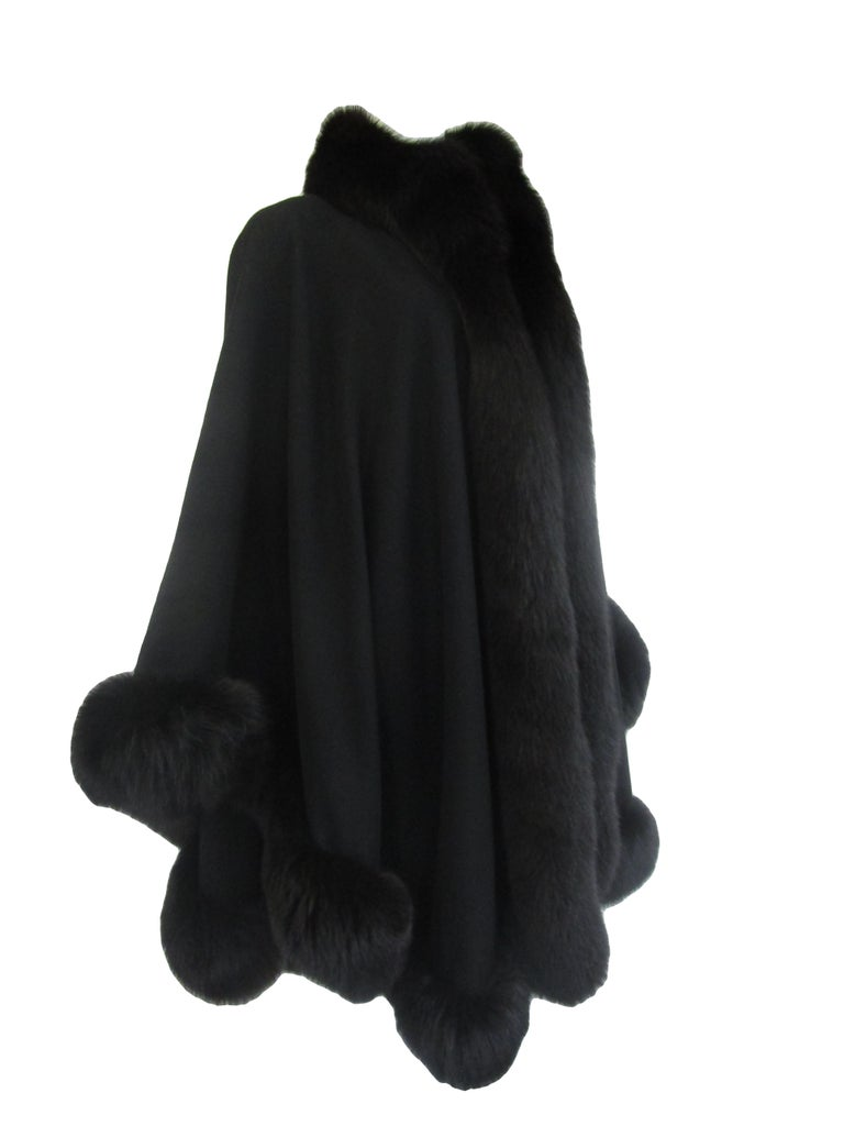 1960s Alixandre Black Fox Fur Cape  For Sale 1