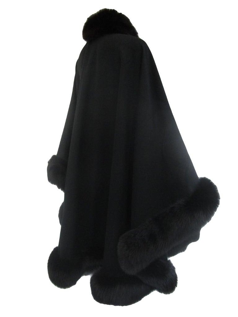 1960s Alixandre Black Fox Fur Cape  For Sale 3