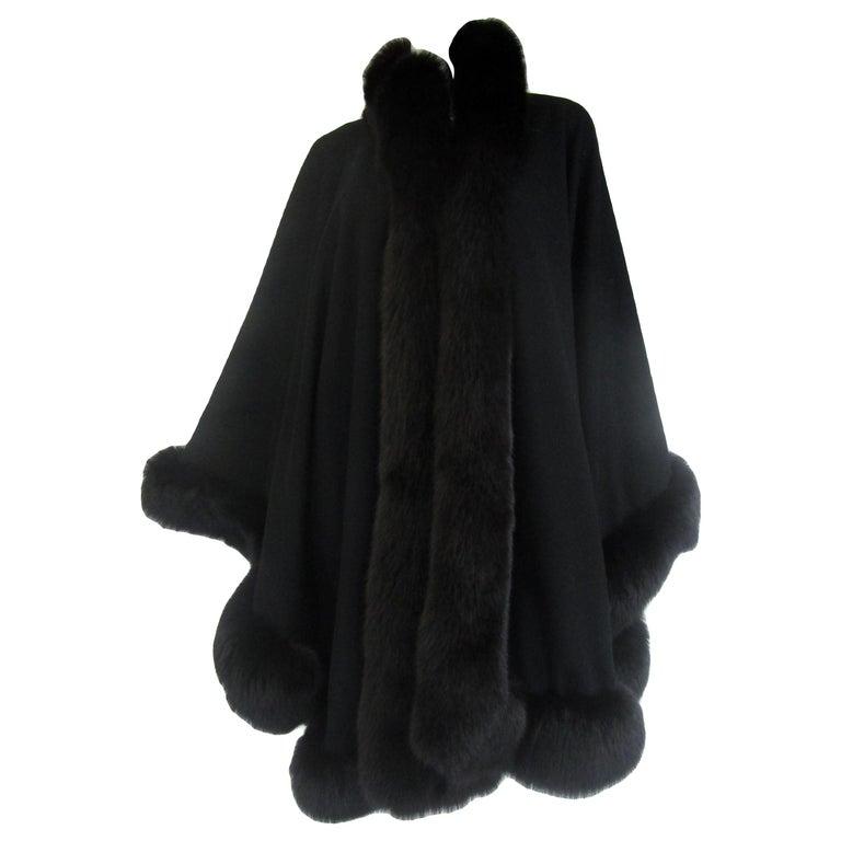 1960s Alixandre Black Fox Fur Cape  For Sale