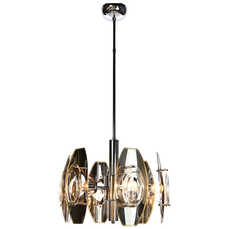 1960s Aluminium, Brass and Glass Chandelier by Oscar Torlasco