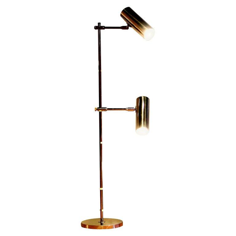 "1960s, Aluminum and Chrome ""Scan-Light"" Floor Lamp by Bergboms, Sweden"