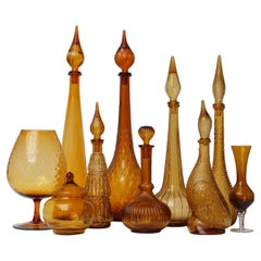 1960s Amber Glass Set of Ten Italian Empoli Genie Bottles, Vases and a Candy Jar