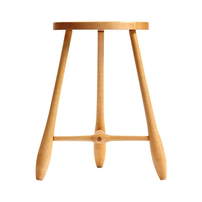 1960s American Craftsman Three-Leg Egg Shaped Stool in Birch For Sale