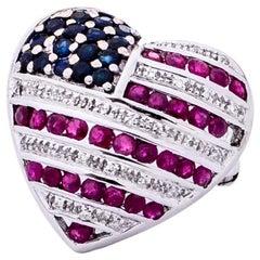 1960s American Flag Heart Shape Brooch Pendant