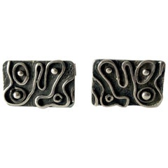 1960s American Modernist Sterling Silver Squiggle Cufflinks by iS