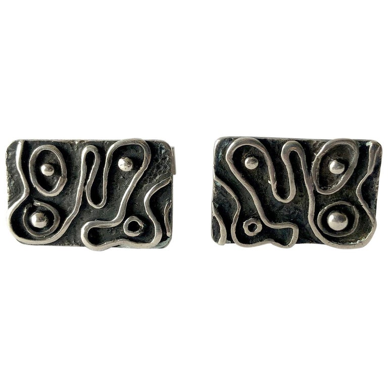 1960s American Modernist Sterling Silver Squiggle Cufflinks by iS For Sale