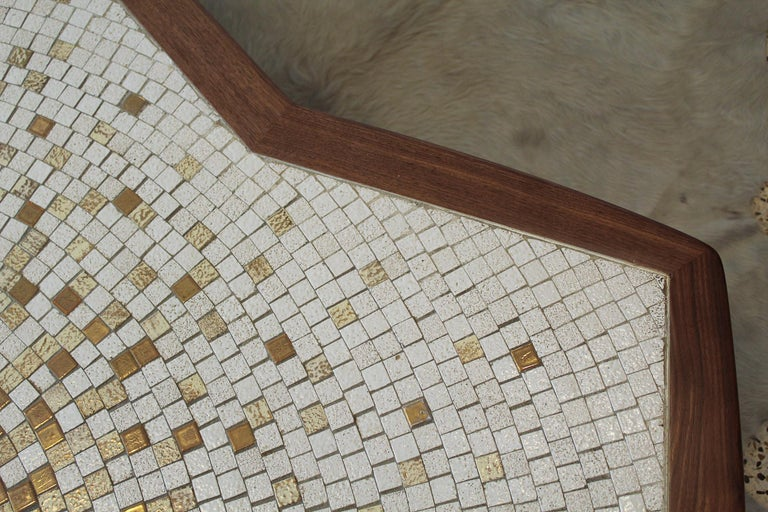 1960s American Modernist Walnut Tile Top Coffee Table For Sale 4
