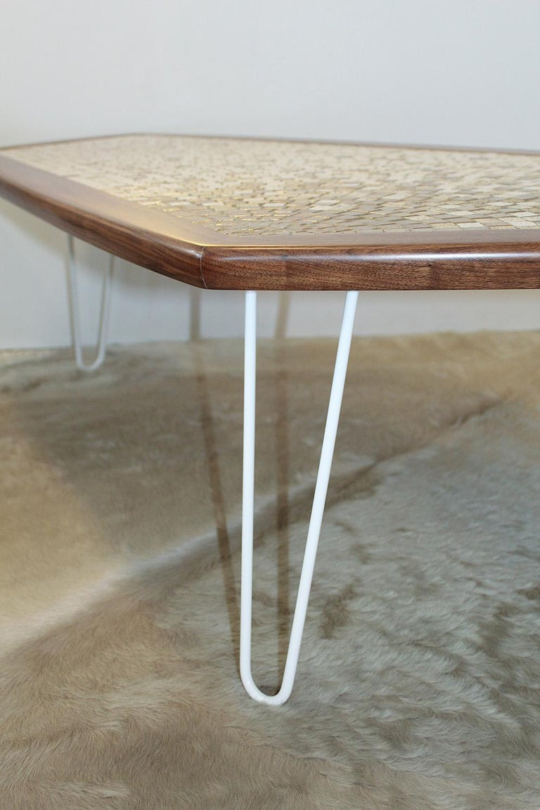 1960s American Modernist Walnut Tile Top Coffee Table For Sale 5