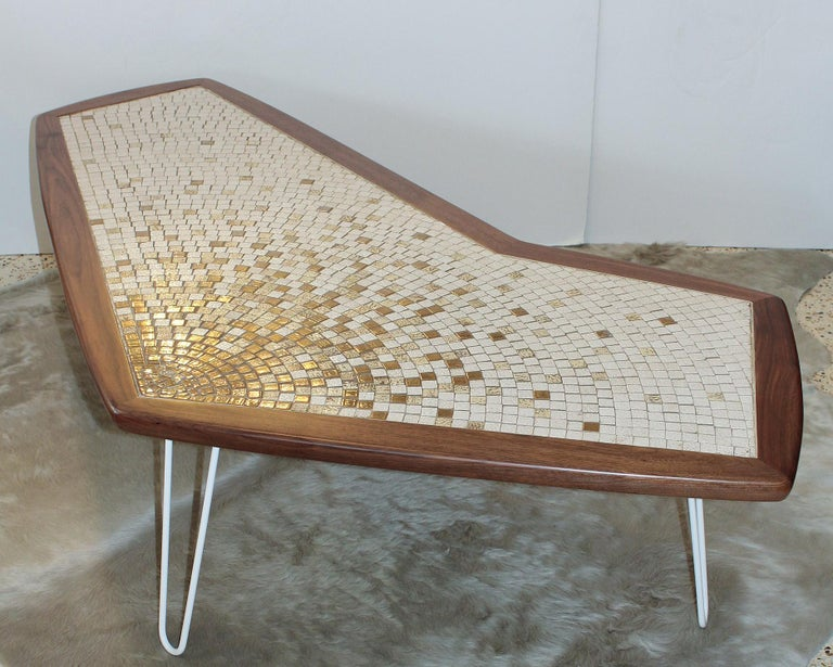 Restored Classic 1960s American modernist boomerang coffee table with walnut frame, white enameled hairpin legs, and top in white and metallic gold glazed tiles.