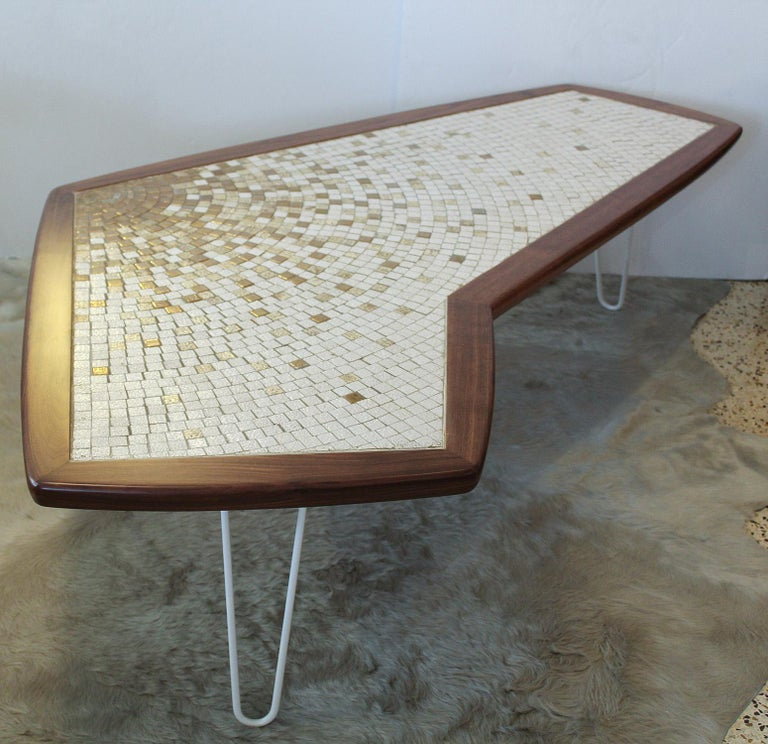 Mid-Century Modern 1960s American Modernist Walnut Tile Top Coffee Table For Sale