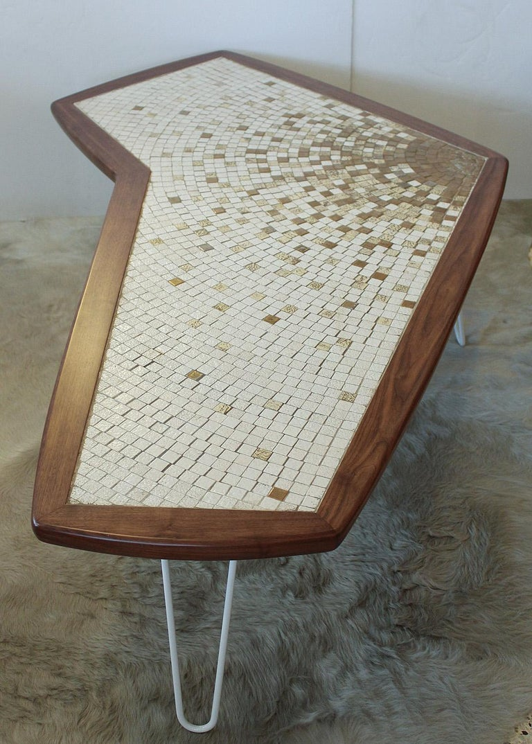 Enameled 1960s American Modernist Walnut Tile Top Coffee Table For Sale