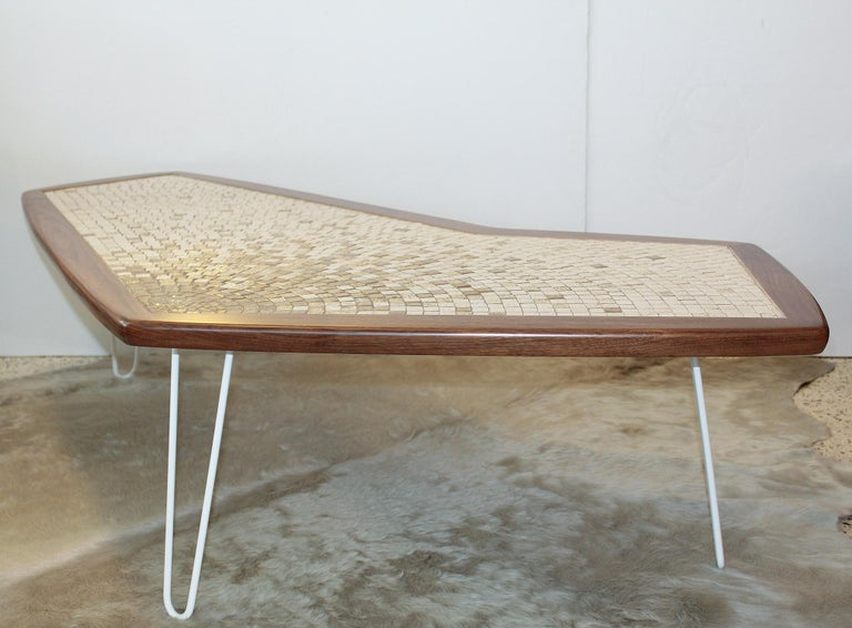 1960s American Modernist Walnut Tile Top Coffee Table In Good Condition For Sale In North Miami, FL