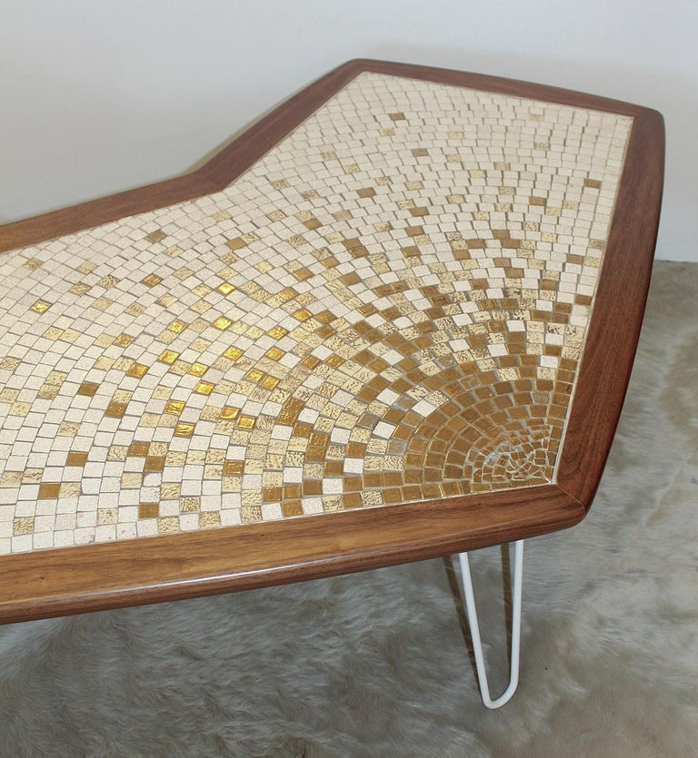 Mid-20th Century 1960s American Modernist Walnut Tile Top Coffee Table For Sale