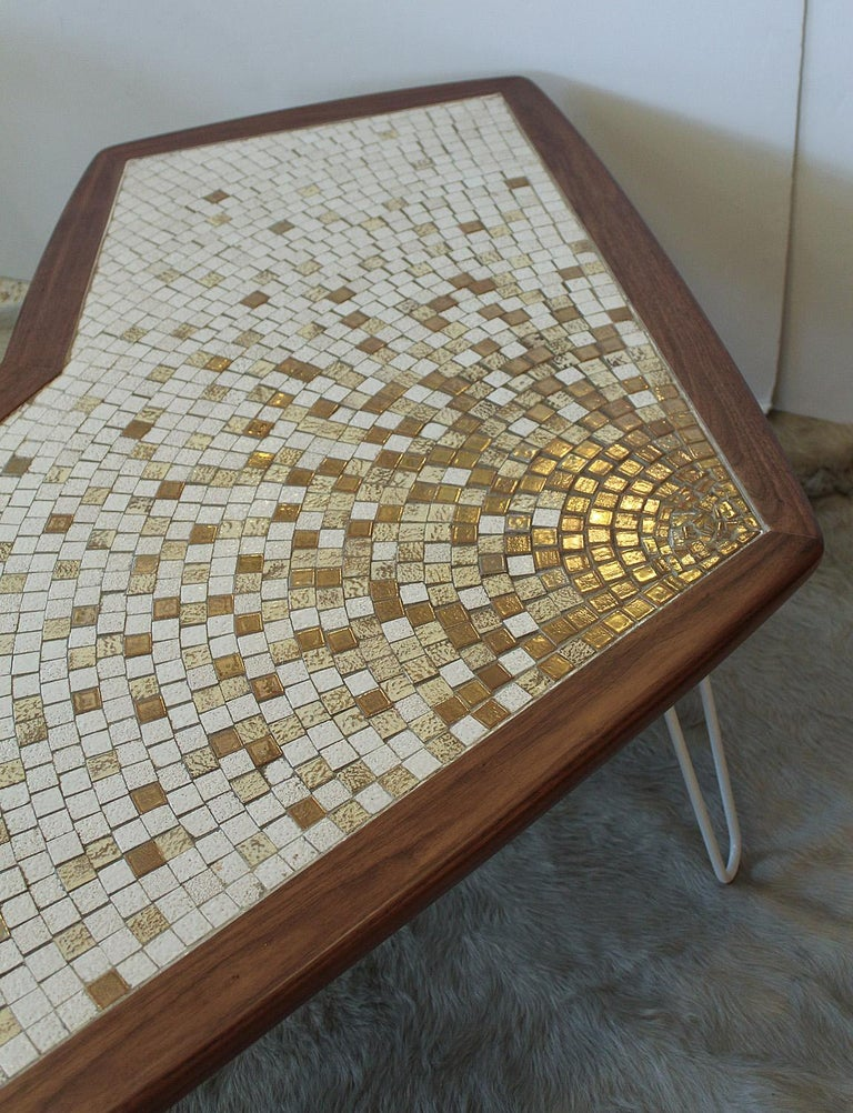Metal 1960s American Modernist Walnut Tile Top Coffee Table For Sale