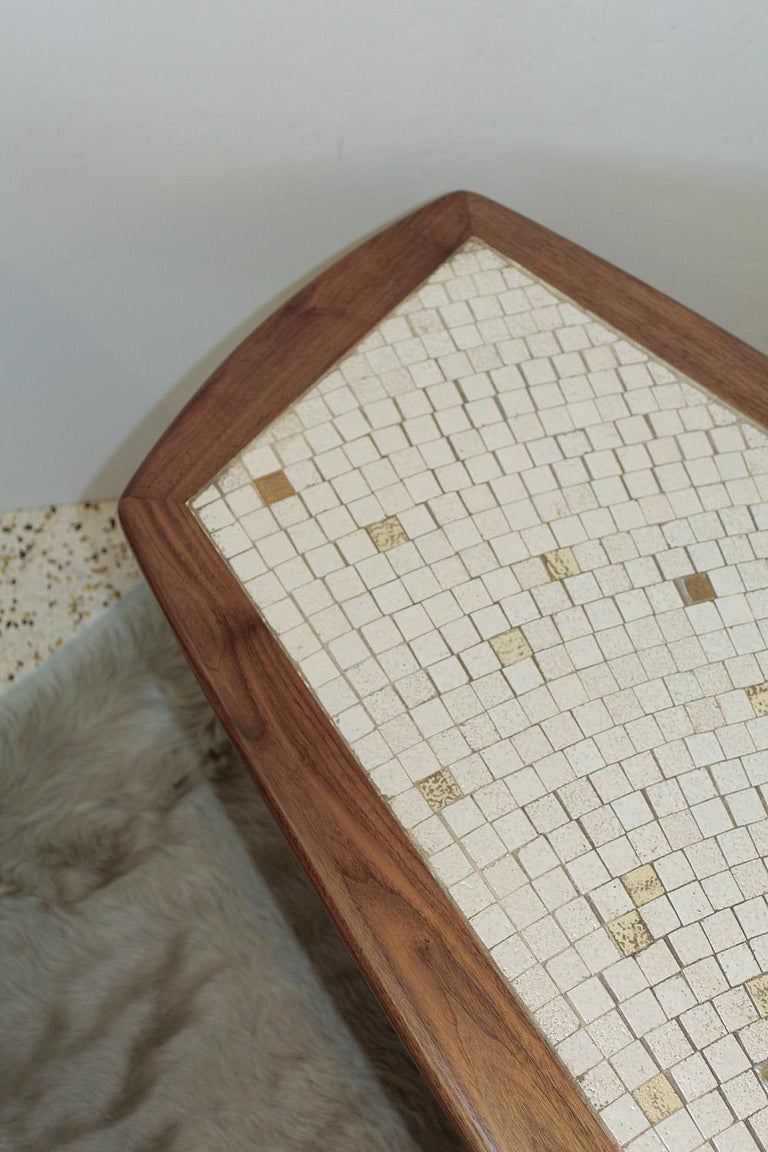 1960s American Modernist Walnut Tile Top Coffee Table For Sale 2