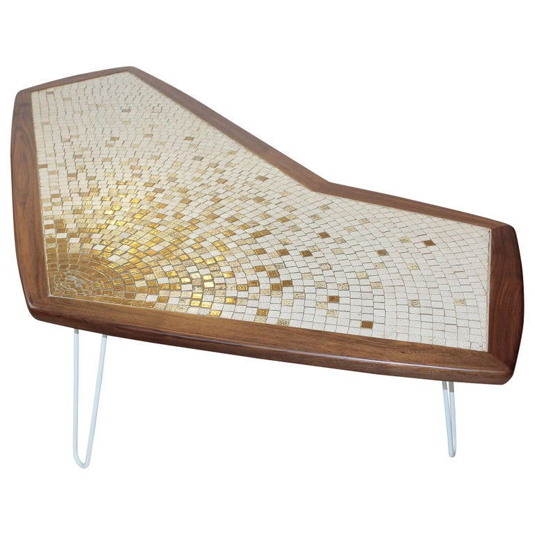 1960s American Modernist Walnut Tile Top Coffee Table For Sale