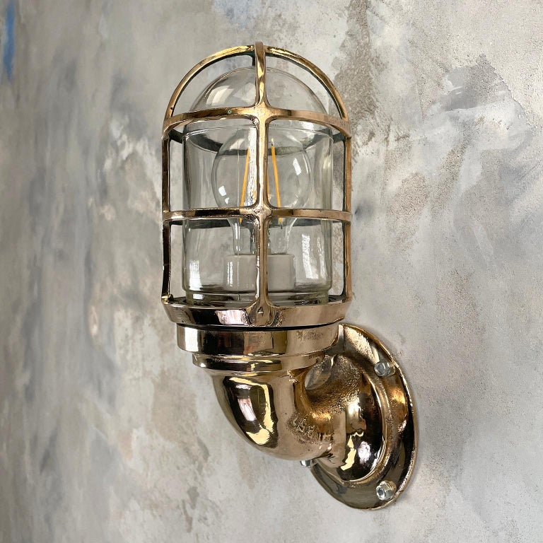 1960s American Paulhuhn Crouse-Hinds Bronze 90 Degree Sconce, Cage & Glass Dome For Sale 5