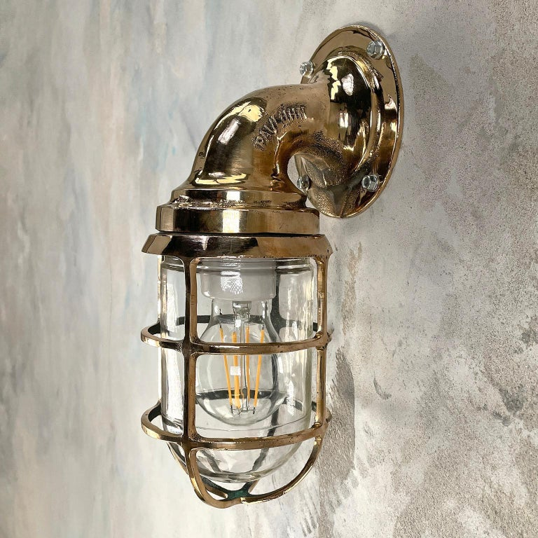 1960s American Paulhuhn Crouse-Hinds Bronze 90 Degree Sconce, Cage & Glass Dome For Sale 9
