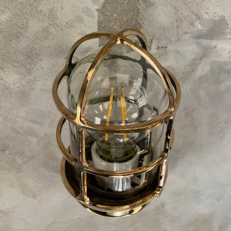 1960s American Paulhuhn Crouse-Hinds Bronze 90 Degree Sconce, Cage & Glass Dome For Sale 11