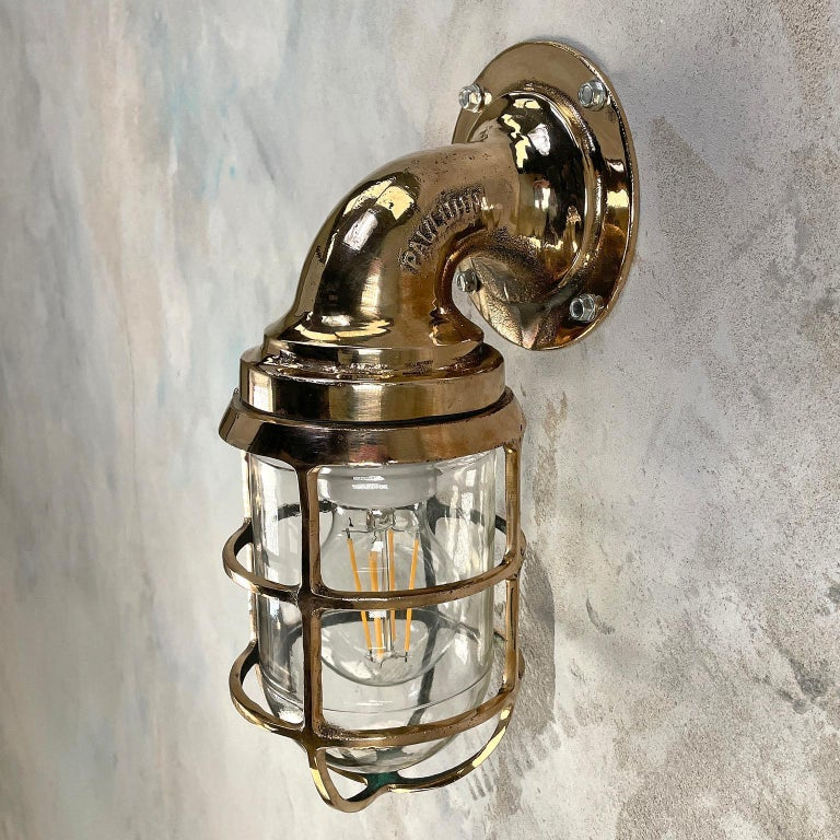 1960s American Paulhuhn Crouse-Hinds Bronze 90 Degree Sconce, Cage & Glass Dome In Good Condition For Sale In Leicester, Leicestershire